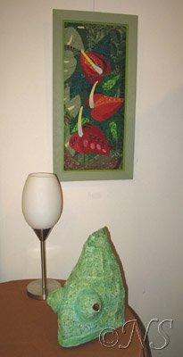 Anthuriums et caméléon