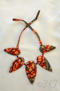 NS collier tissu africain orange jaune